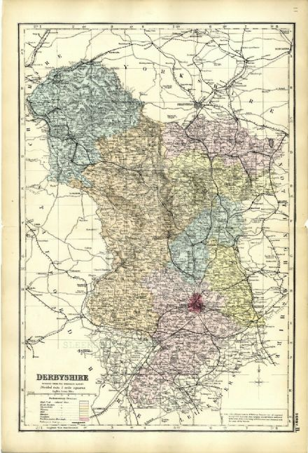 1883 Antique Map DERBYSHIRE COUNTY Houses FARMS Railways STATIONS Peak District